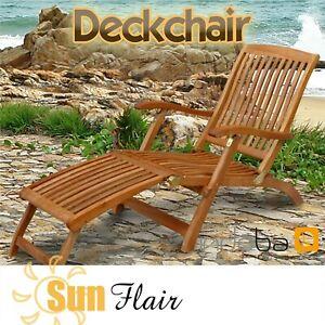 Deckchair Liegestuhl Garten Relax Stuhl Sonnenliege Gartenliege Gartenmöbel Holz