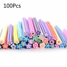 100pcs Fimo Artificial Flower Slices Sticks Rod Nails Art Tips Clay Toys DIY