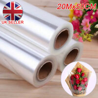 20m X 50cm Wide Plain Clear Florist Craft Cellophane Roll Film Gift Wrap Hamper