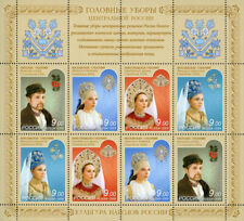 Stamp sheet of RUSSIA 2009 Culture of Russian people National suits headdresses