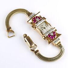 Retro 14K Rose Gold Ruby Diamond Wrist Watch Bracelet Exquisite RARE EWSR18