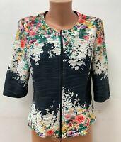 JOSEPH RIBKOFF size UK 14 Multicoloured Jacket Cardigan Zip Floral