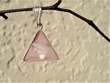 Dainty Vogel in Rose Aura Quartz Triangle Silver Pendant! Rainbow Joyful Energy!