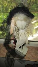 CHARMING DOLL MOHAIR WIG + HANDMADE DOLL HAT + WOODEN DOLL HAT STAND