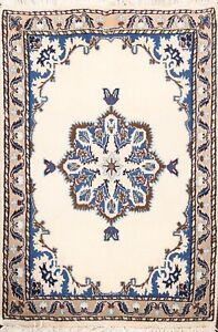 Vintage Wool/ Silk Geometric Nain Hand-knotted Area Rug Medallion Oriental 2'x3'