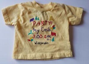 Vtg Yellow T-shirt American Crown 3-6 Mo Party My Crib Wisconsin