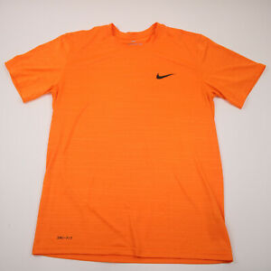 Nike Dri Fit The Nike Tee Athletic Cut Logo Orange T Shirt Men's Size Medium
