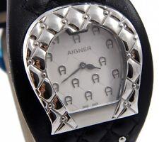 AIGNER AQUILA A41207 Damen Uhr Edelstahl Leder schwarz  UVP*499 € NEU