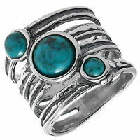 Ring echt Silber 925 Sterlingsilber geschwärzt Türkis Indianer antik Damenring