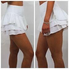 Celeb style White Double Layered Ruffle Frill Hem Skort/Short/Skirt High Waist