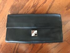 Rare! Black Furla Black Leather Clutch Bag Made In Italy