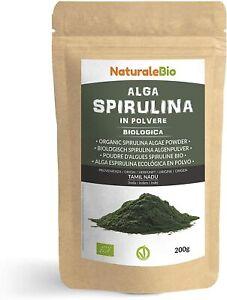 Alga Spirulina Biologica in Polvere 200g. 100% Bio, Naturale e 200 Grammi