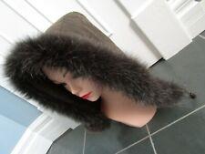 Real Genuine FOX FUR Trim Hood Collar Boa Kaki Green