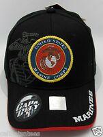 8bc6adc54 United States U.S. MARINES Cap Hat US Military USMC USA Marine Corps Black  NWT