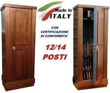 ARMADIO BOX CASSAFORTE LEGNO PORTAFUCILI FUCILIERA BLINDATO 12/14 POSTI FUCILI