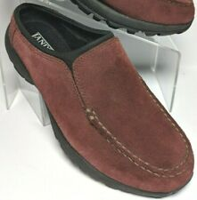 Lands End Womens Brown Suede Leather Moc Toe Clogs Comfort Slip On Loafers 6.5 B