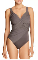 Miraclesuit Rock Solid Revele One-Piece Swimsuit Size 14 - Mineral Grey 76212
