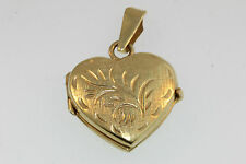 14k ITALY YELLOW GOLD HEART LOCKET PENDANT ETCHED VICTORIAN BRANCH DESIGN TOP