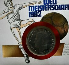 More details for german issue - spain 1982 fifa world cup 14 pesetas stamp and100 pta proof coin