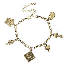 Lux Accessories Boho Burnished Antique Gold Mad Hatter Chain Charm Bracelet
