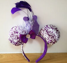 New Disney Parks Minnie Crown and Feathers Jubilee Purple Costume Ear Headband