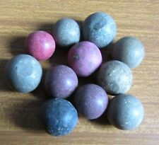 11 Old Stone Type Coloured Marbles - Handmade ?