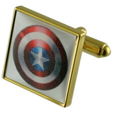 Captain America Hero Gold Square Cufflinks With Select Gifts Pouch