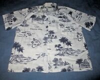 Men's 3XL Authentic Hawaiian Shirt Map/Scenes of the Islands C T Hawaii Fashions