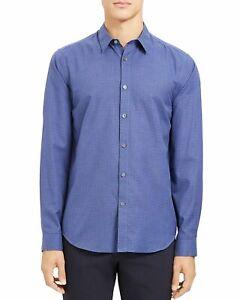 Theory Mens Dress Shirt Tundra Blue Size XL Plaid Printed Bridge $225 #153