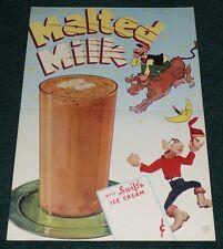 SWIFT'S ICE CREAM MALTED MILK VINTAGE 1946 SIGN SMOKEY STOVER COW DAIRY