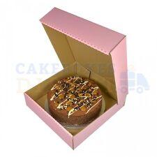 """100 Corrugated Cake Boxes 11.5 x11.5 x3"""" Pink Gateaux Boxs"""