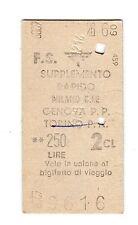 BIGLIETTO TICKET EDMONSON SUPPL. RAPIDO  MILANO CL. GENOVA   26-6-1960