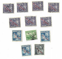 "Malta postage stamps x 12, used, Overprinted ""SELF-GOVERNMENT - 1947"""