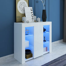 LED Display Sideboard Cabinet White High Gloss Front Storage Cupboard Unit