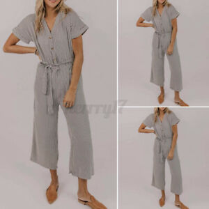 ZANZEA Women Short Sleeve V Neck Striped Jumpsuits Ladies Casual Loose Playsuits