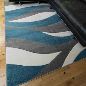 Blue Grey Modern Rugs Living Room Mat Teal Nautical Wave Hand Carved Texture Rug