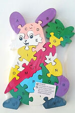 Wooden jigsaw/puzzle rabbit with numbers and letters,colorful educational toy