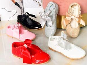 Kids Girls children  Flat Party Shoes Pricess Glitter Bridesmaids Wedding Pumps