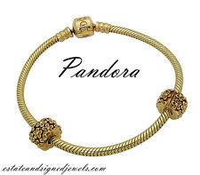 Pandora 14k Yellow Gold Golden Flower Clip Charm Bracelet D1032