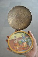 1930's Old Brass Engraved Handcrafted Lord Krishna & Balram Painted Holy Shrine