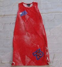 Flowers By Zoe Embellished USA Flag Maxi Dress Size S Small 7-8  Leather ties