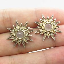 MMA Vtg 925 Sterling Silver Real Moonstone Gemstone C Z Star Earrings