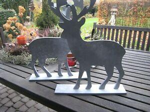 Elch Rentier Holz Deko Herbst Winter grau Weihnachten Advent Shabby Neu