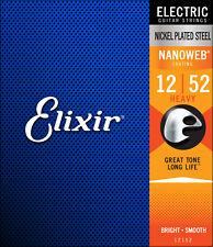 Elixir Nanoweb 12- 52 Coated long life Electric Guitar Strings 12152 Heavy