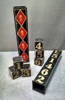 Vintage Magic Trick - Wood Blocks w/ Numbers - (antique order illusion)
