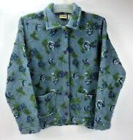 L.L Bean Women's Blue Button Up Floral Fleece Cardigan Soft Sweater Medium Reg