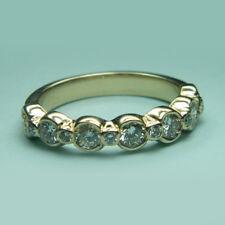 Round Cut 1.25Ct Diamond Rings Hallmarked 14K Yellow Gold Eternity Band Size N