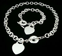 Fashion 925Sterling Silver Middle Heart T-O Women Chain Necklace Bracelet