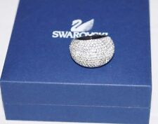 Authentic $290 DANIEL SWAROVSKI Stone Silver Crystal Cocktail Ring Size 58
