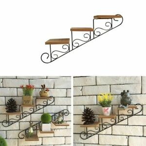 Wall Hanging Flower Pot Shelf Staircase Wooden Iron 3 Layer Clothing Store Decor